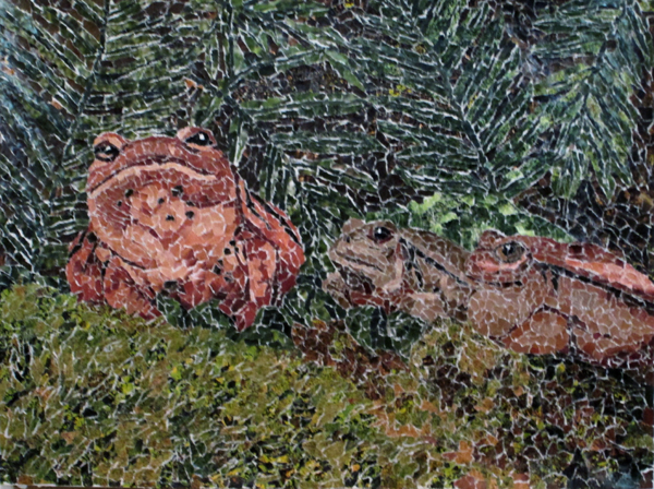 We Three Frogs torn paper collage Tamara Jaeger